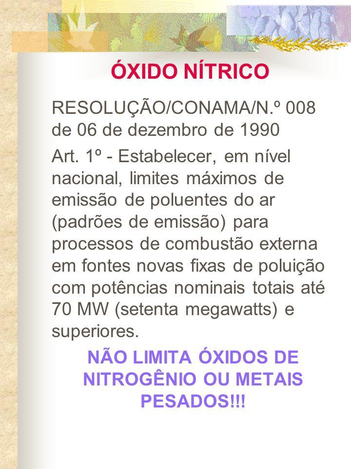 NÃO LIMITA ÓXIDOS DE NITROGÊNIO OU METAIS PESADOS!!!