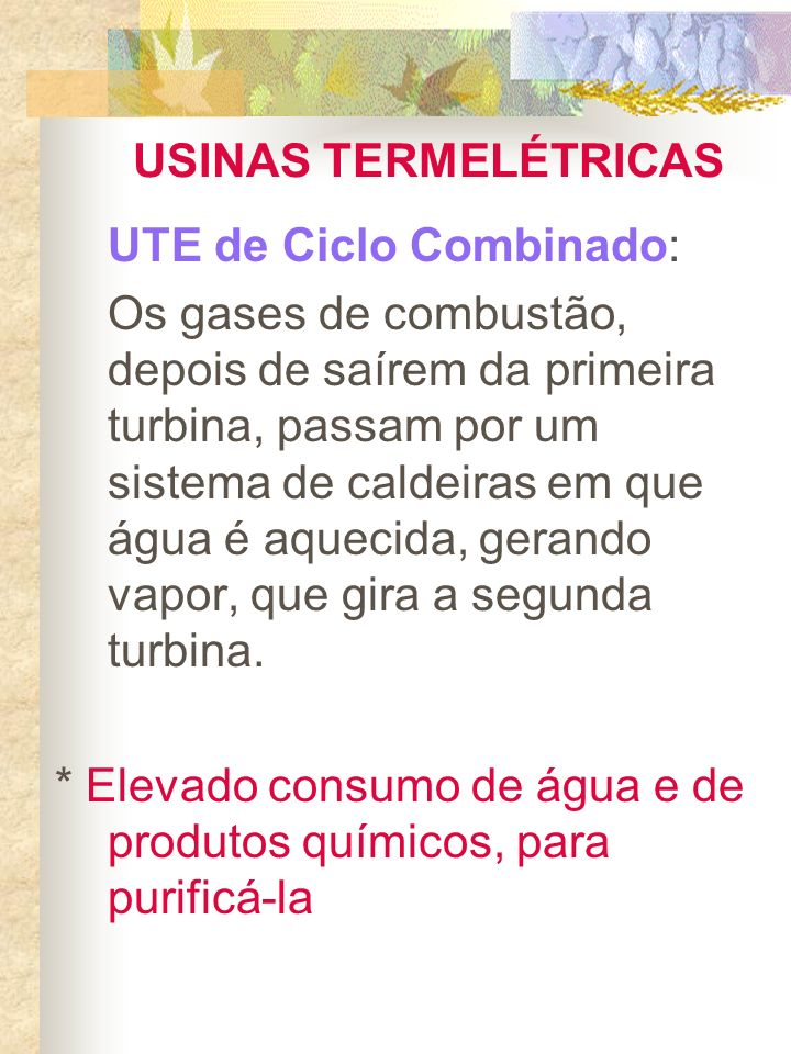 USINAS TERMELÉTRICASUTE de Ciclo Combinado: