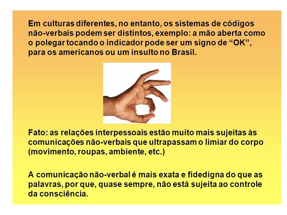 Em culturas diferentes, no entanto, os sistemas de códigos não-verbais podem ser distintos, exemplo: a mão aberta como o polegar tocando o indicador pode ser um signo de OK , para os americanos ou um insulto no Brasil.