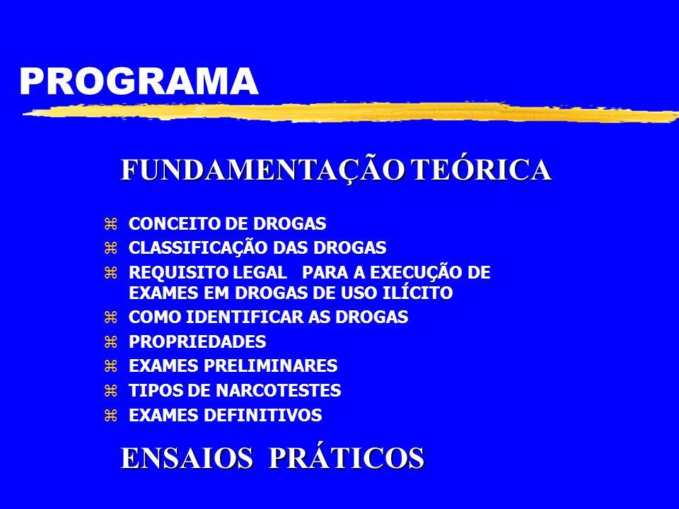 PROGRAMA FUNDAMENTAÇÃO TEÓRICA ENSAIOS PRÁTICOS CONCEITO DE DROGAS