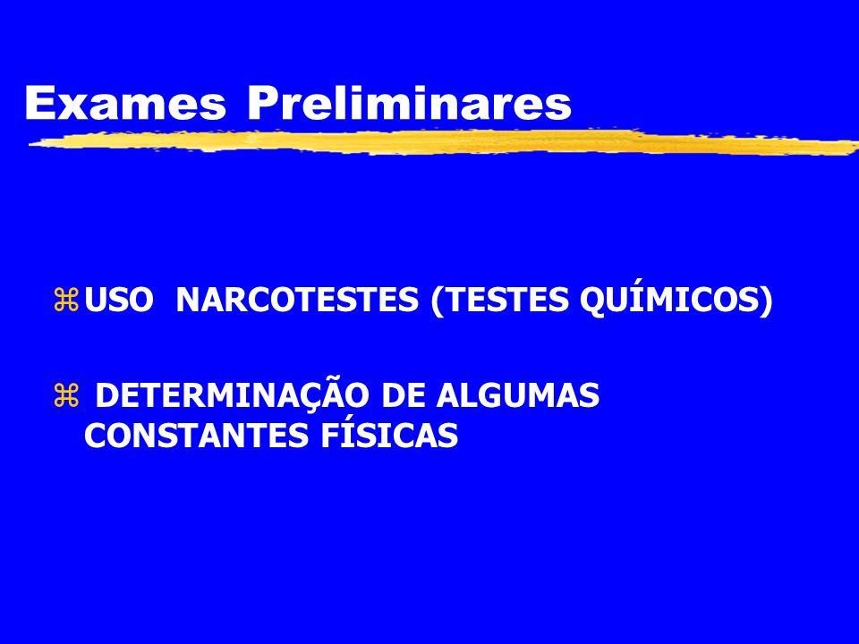 Exames Preliminares USO NARCOTESTES (TESTES QUÍMICOS)