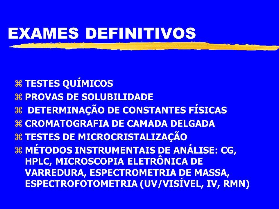 EXAMES DEFINITIVOS TESTES QUÍMICOS PROVAS DE SOLUBILIDADE