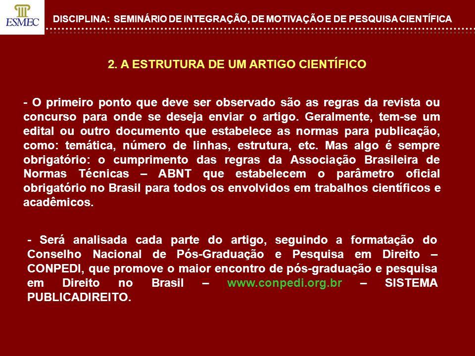 2. A ESTRUTURA DE UM ARTIGO CIENTÍFICO