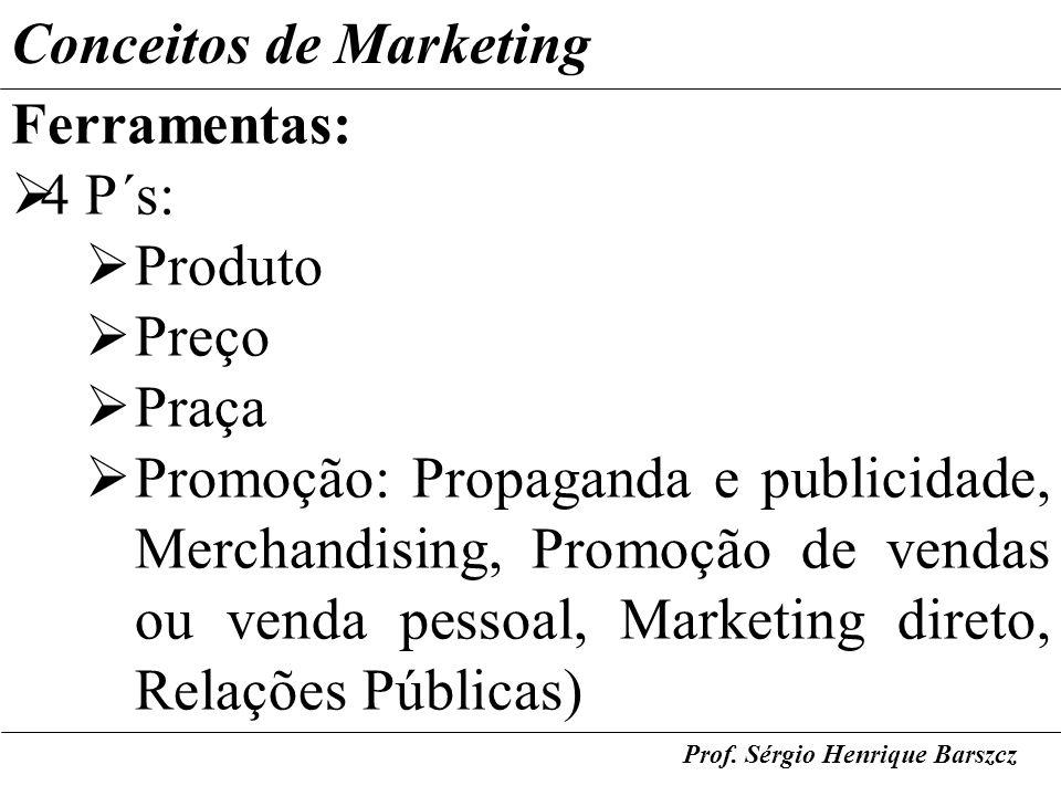 Conceitos de Marketing Ferramentas: 4 P´s: Produto Preço Praça