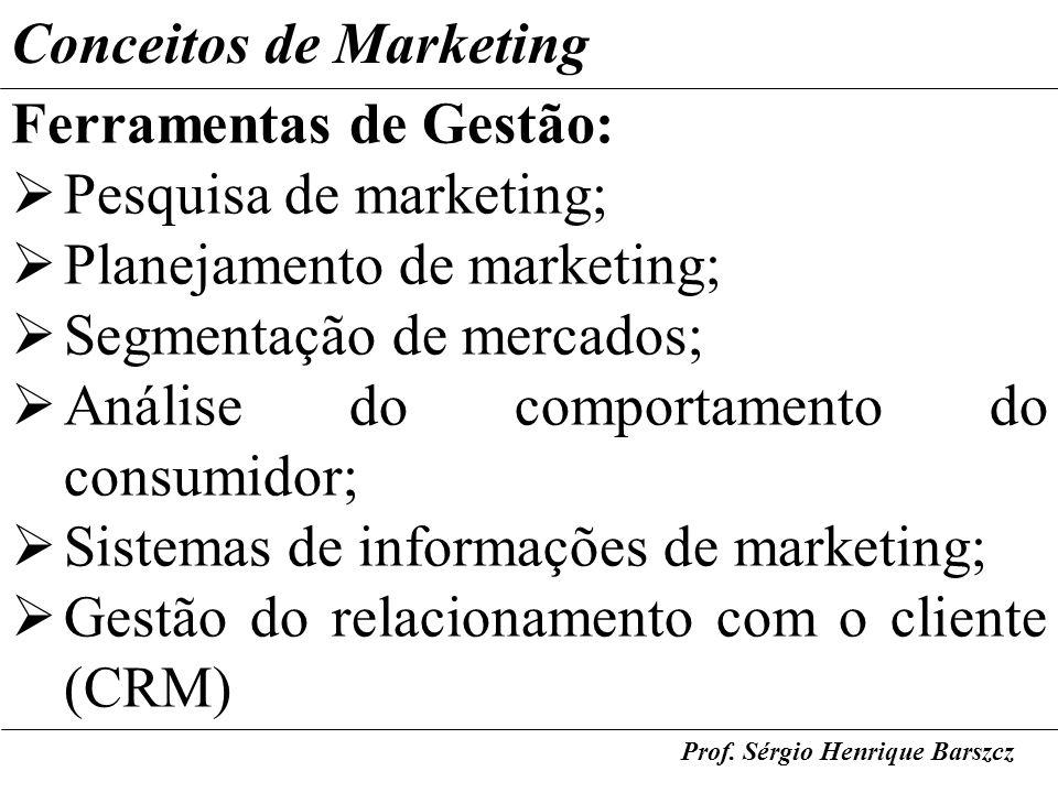Conceitos de Marketing Ferramentas de Gestão: Pesquisa de marketing;