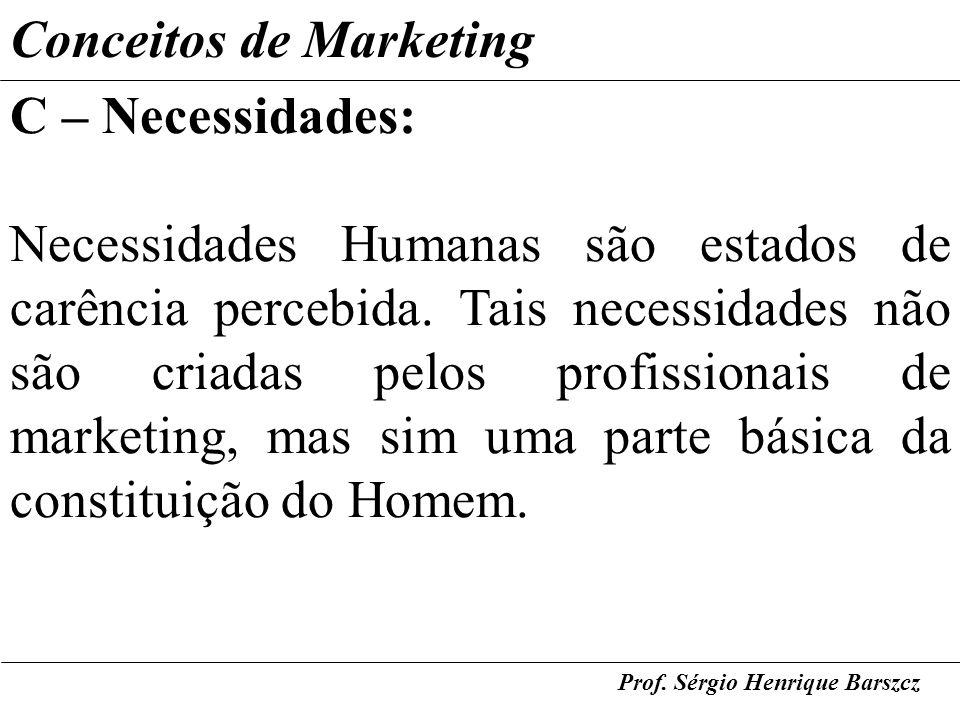 Conceitos de Marketing C – Necessidades: