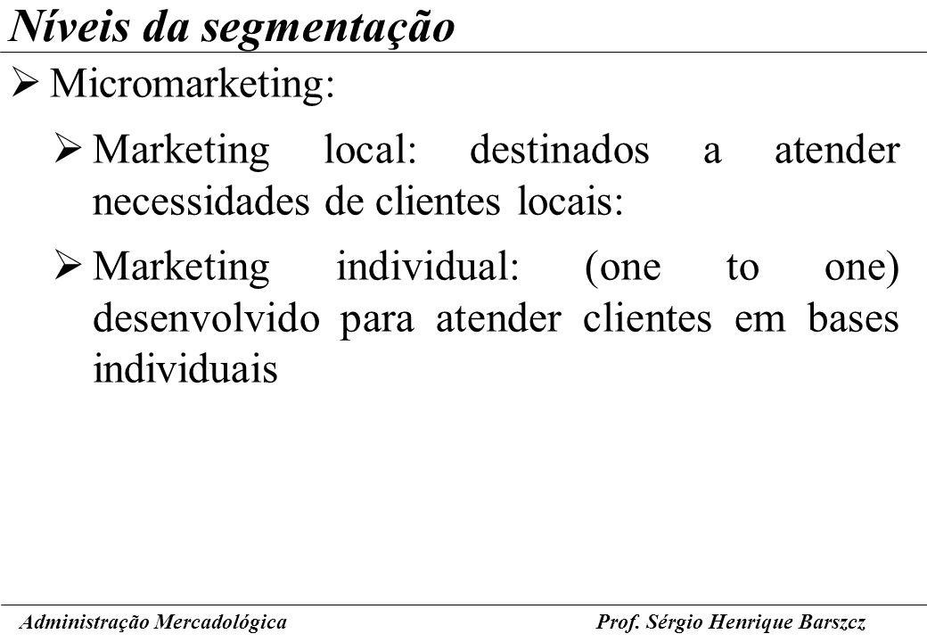 Níveis da segmentação Micromarketing: