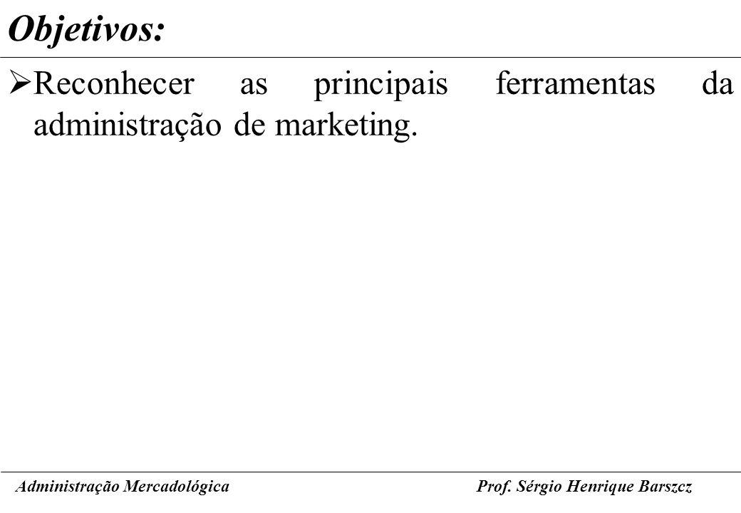 Objetivos:Reconhecer as principais ferramentas da administração de marketing. Administração Mercadológica.