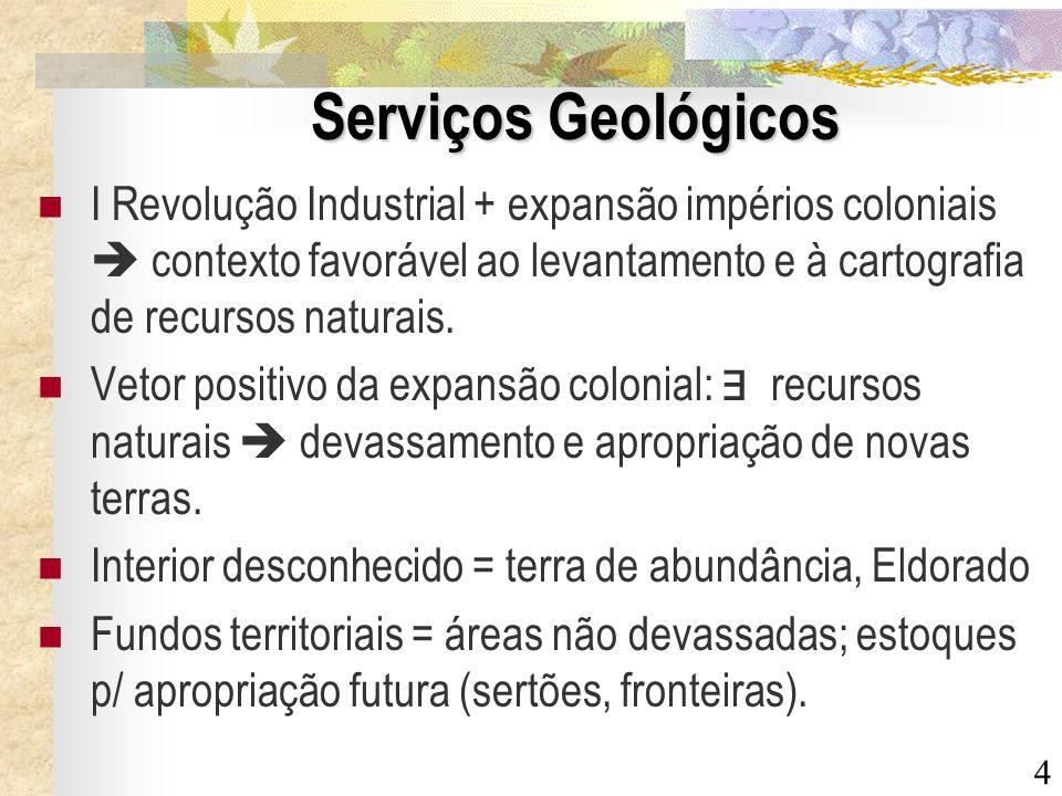 Serviços Geológicos I Revolução Industrial + expansão impérios coloniais  contexto favorável ao levantamento e à cartografia de recursos naturais.