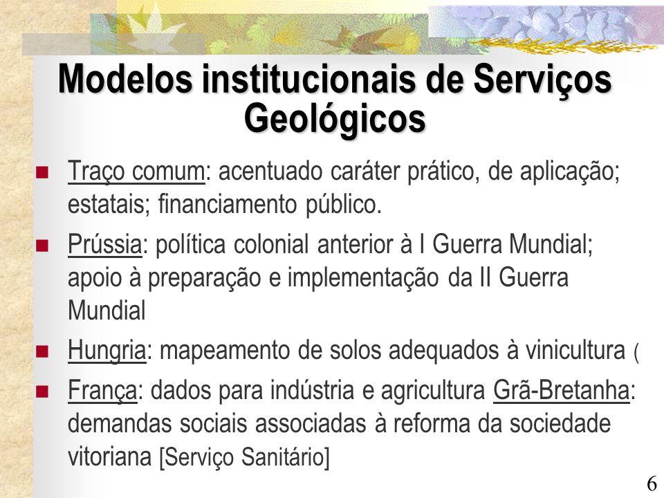 Modelos institucionais de Serviços Geológicos