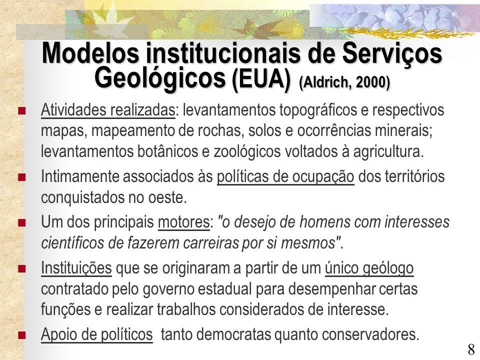 Modelos institucionais de Serviços Geológicos (EUA) (Aldrich, 2000)
