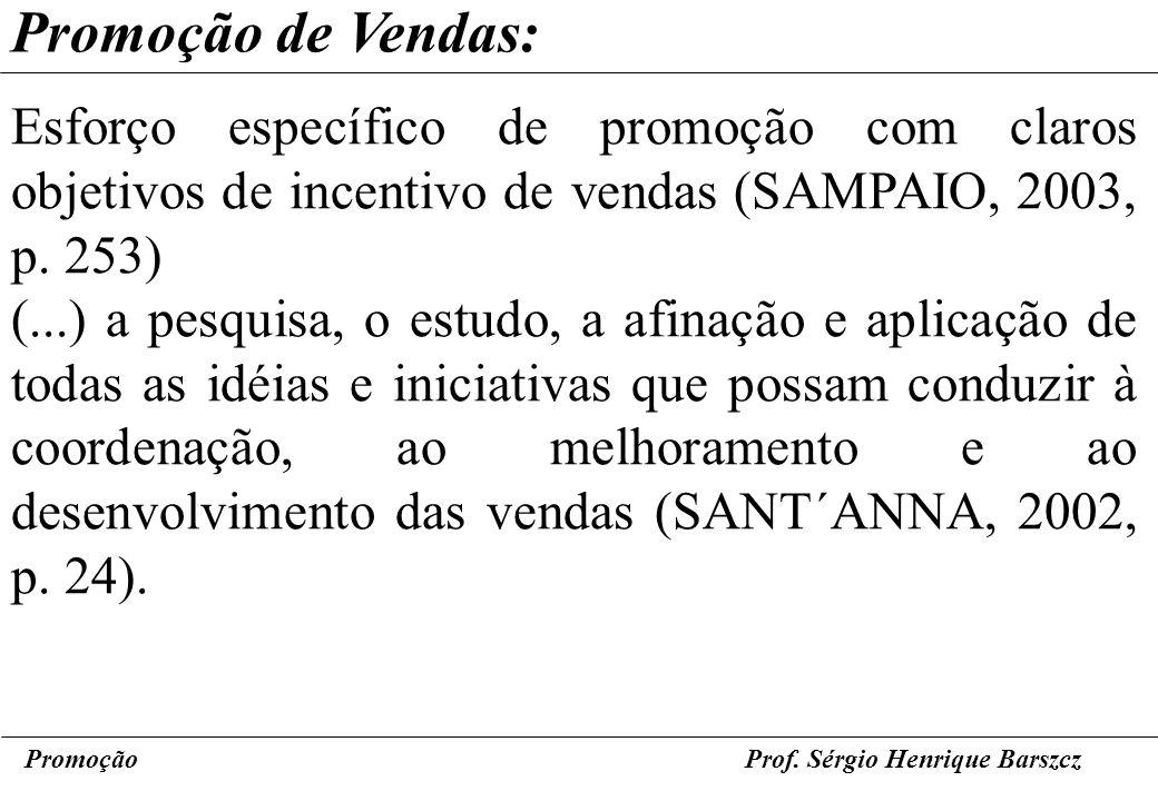 Promoção de Vendas: Esforço específico de promoção com claros objetivos de incentivo de vendas (SAMPAIO, 2003, p. 253)