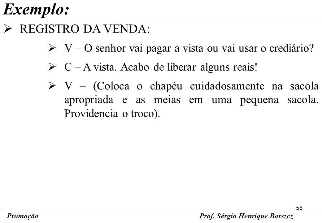Exemplo: REGISTRO DA VENDA: