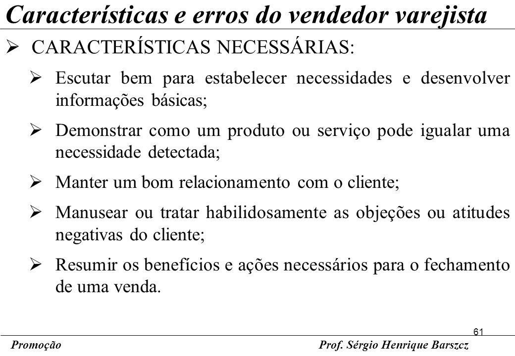 Características e erros do vendedor varejista