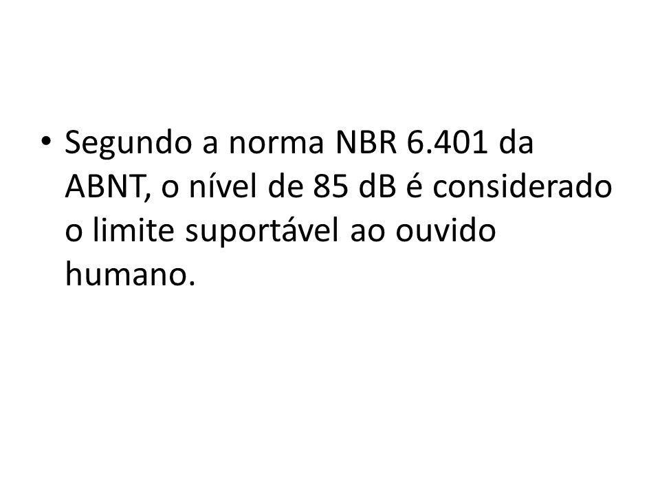 Segundo a norma NBR 6.401 da ABNT, o nível de 85 dB é considerado o limite suportável ao ouvido humano.