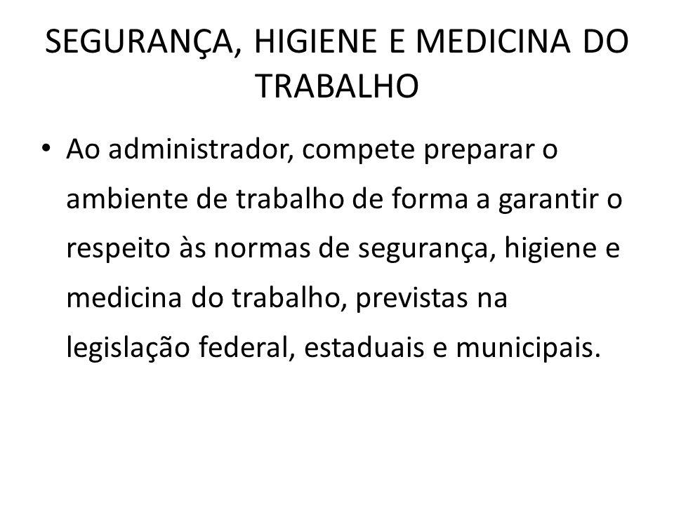 SEGURANÇA, HIGIENE E MEDICINA DO TRABALHO