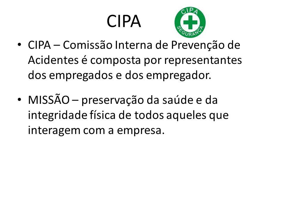 CIPA CIPA – Comissão Interna de Prevenção de Acidentes é composta por representantes dos empregados e dos empregador.