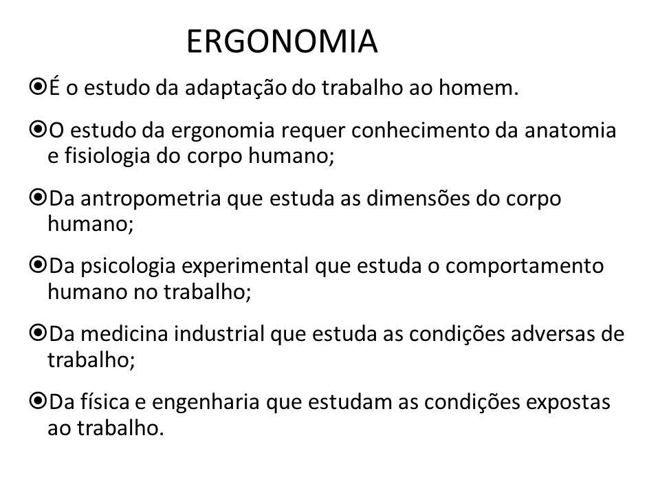 ERGONOMIA É o estudo da adaptação do trabalho ao homem.