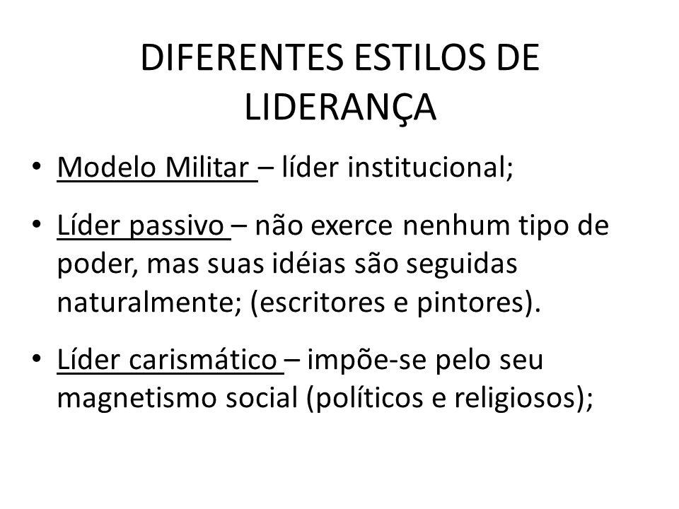 DIFERENTES ESTILOS DE LIDERANÇA