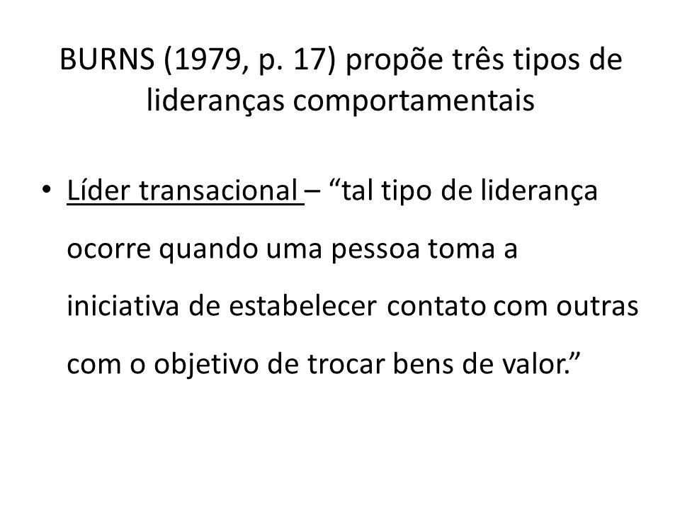 BURNS (1979, p. 17) propõe três tipos de lideranças comportamentais