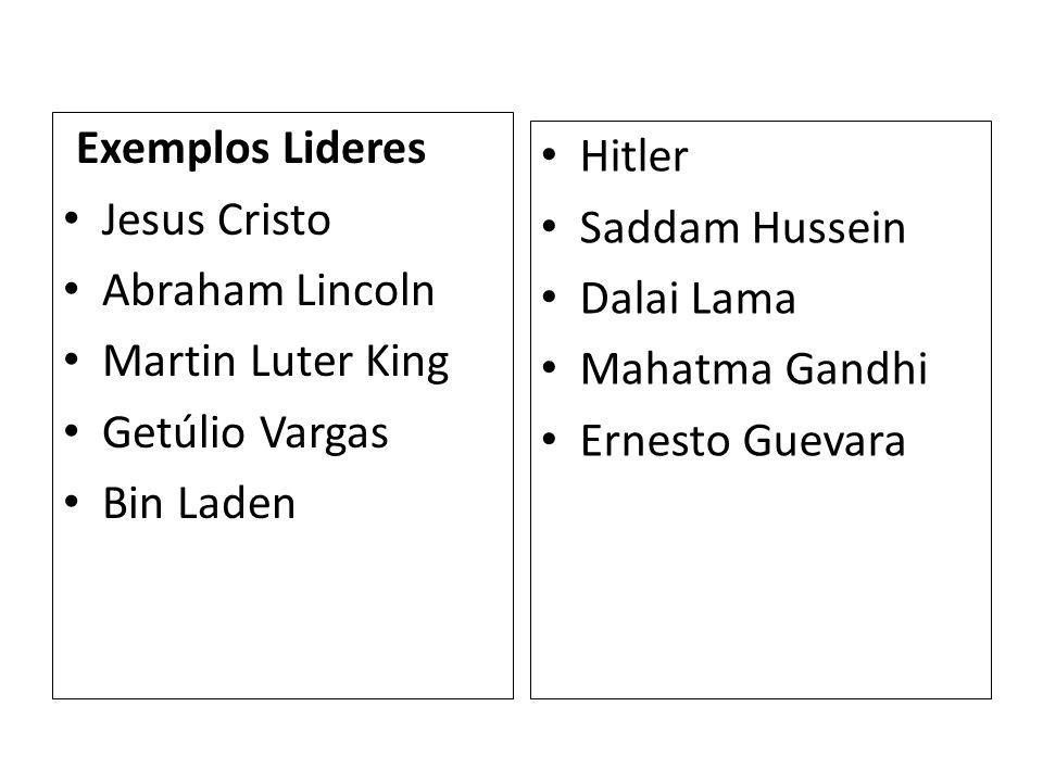 Exemplos Lideres Jesus Cristo. Abraham Lincoln. Martin Luter King. Getúlio Vargas. Bin Laden. Hitler.