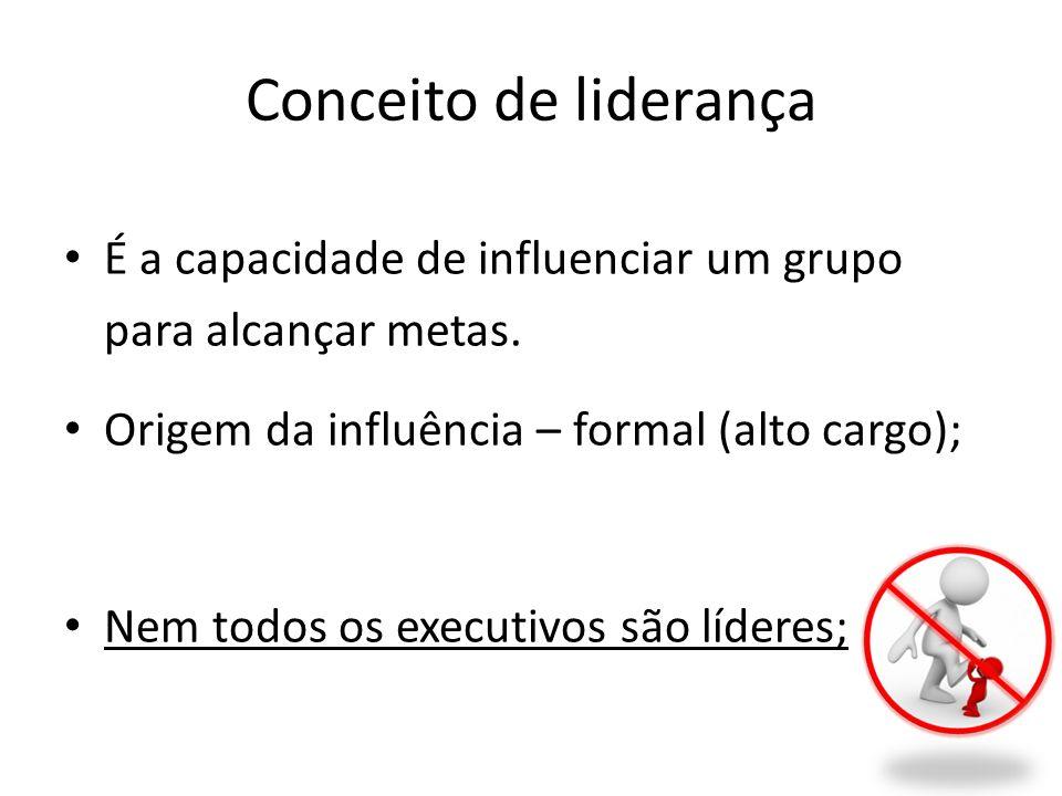 Conceito de liderança É a capacidade de influenciar um grupo para alcançar metas. Origem da influência – formal (alto cargo);