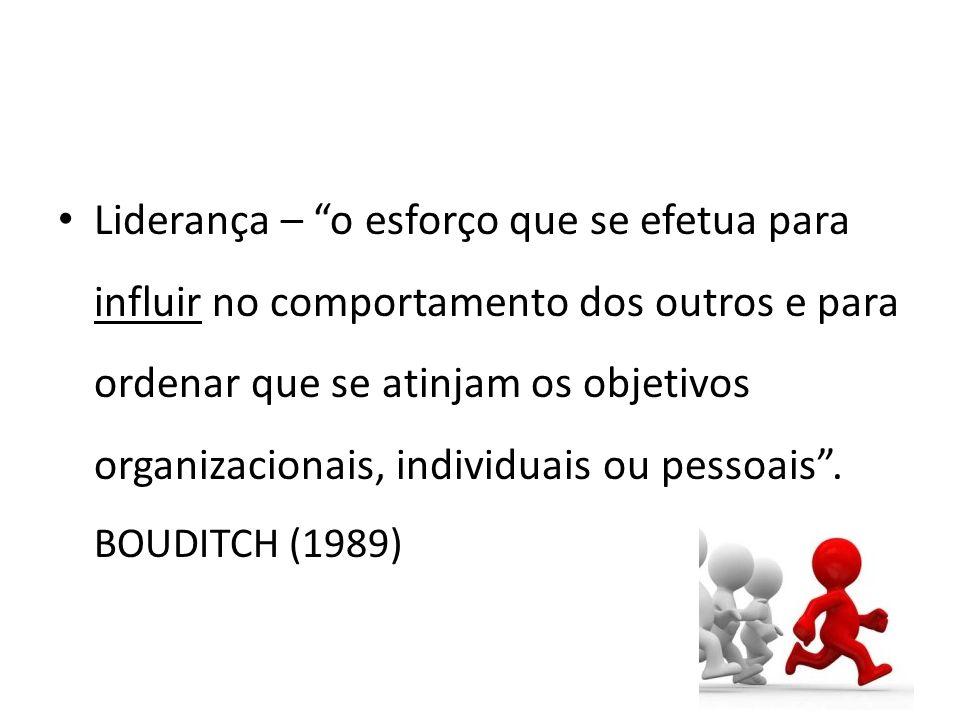 Liderança – o esforço que se efetua para influir no comportamento dos outros e para ordenar que se atinjam os objetivos organizacionais, individuais ou pessoais .