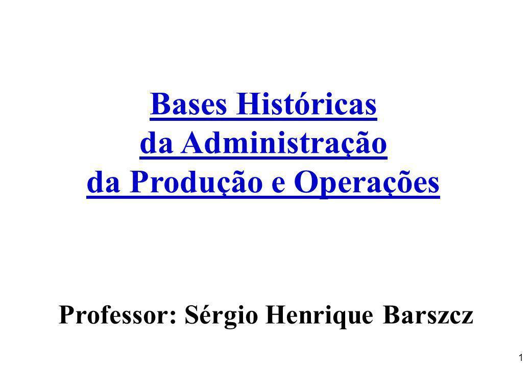 da Produção e Operações Professor: Sérgio Henrique Barszcz