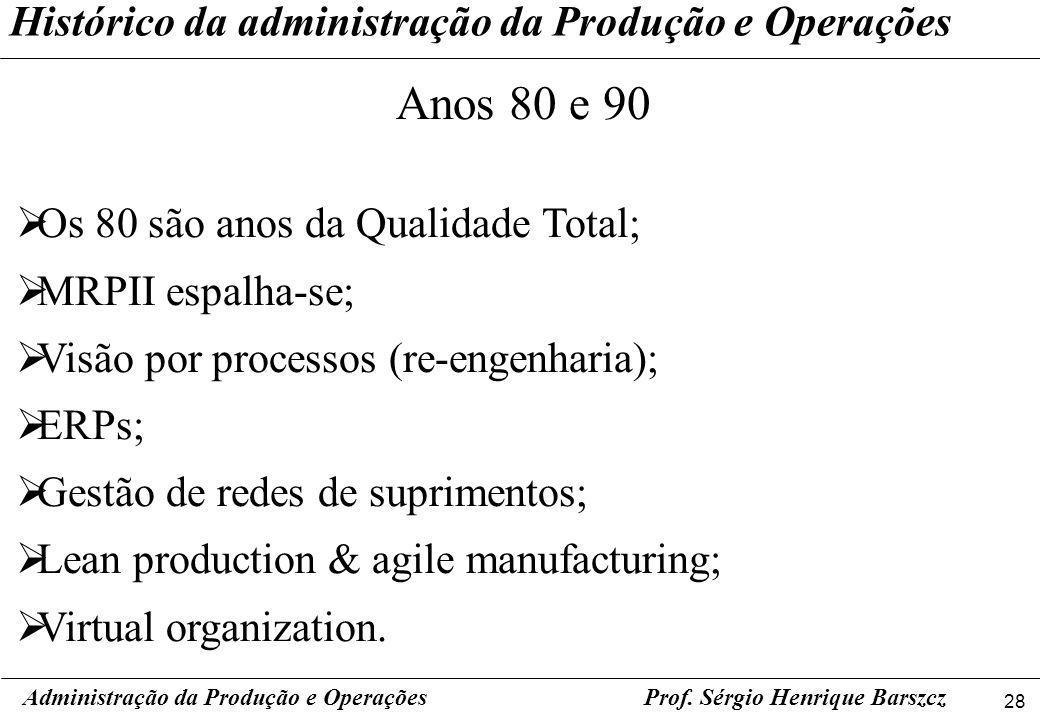 Anos 80 e 90 Histórico da administração da Produção e Operações