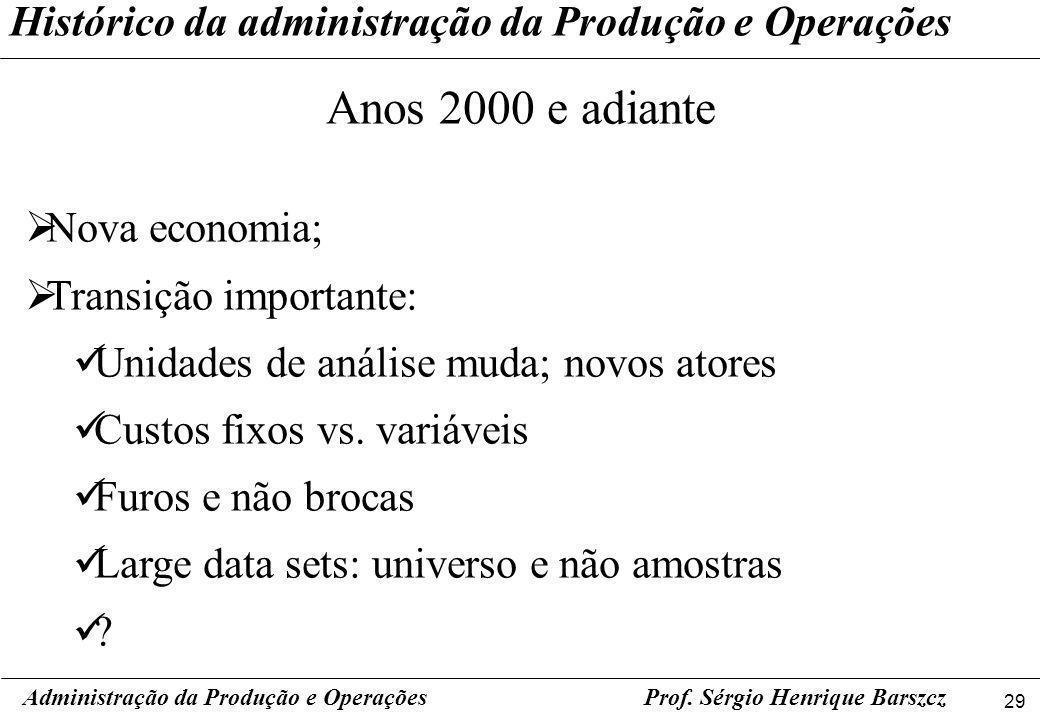 Anos 2000 e adiante Histórico da administração da Produção e Operações