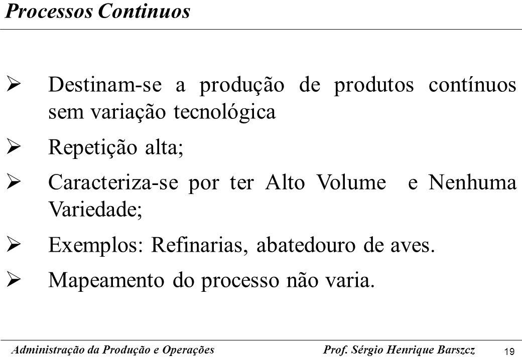 Destinam-se a produção de produtos contínuos sem variação tecnológica