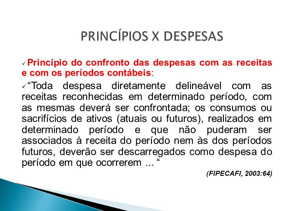 PRINCÍPIOS X DESPESAS Princípio do confronto das despesas com as receitas e com os períodos contábeis: