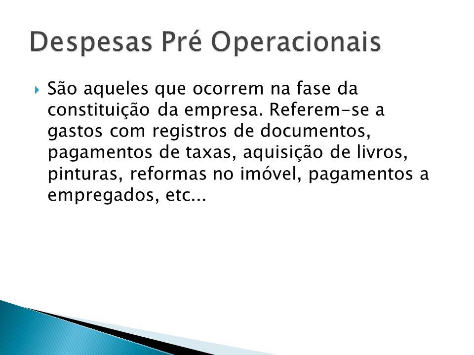 Despesas Pré Operacionais