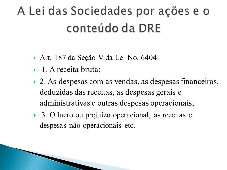 A Lei das Sociedades por ações e o conteúdo da DRE