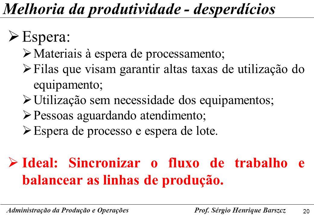 Melhoria da produtividade - desperdícios
