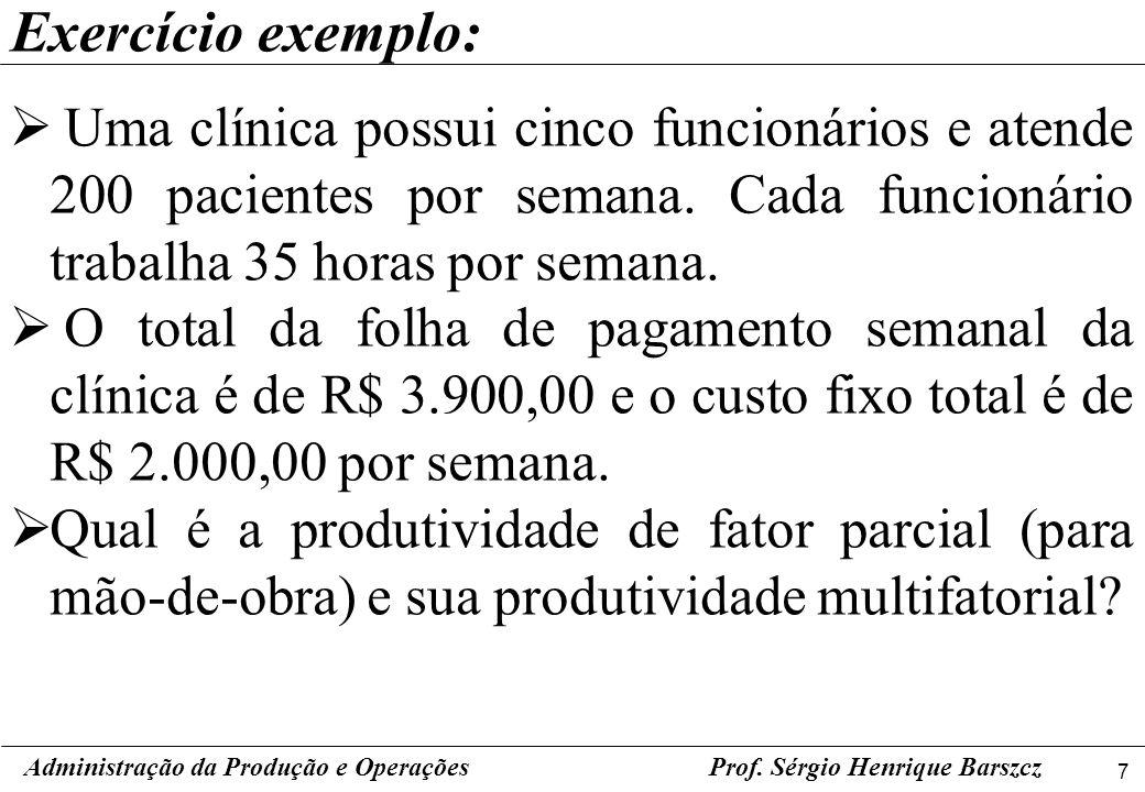 Exercício exemplo: Uma clínica possui cinco funcionários e atende 200 pacientes por semana. Cada funcionário trabalha 35 horas por semana.