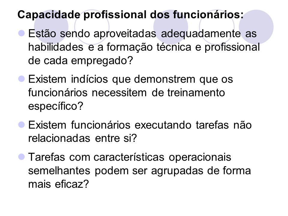 Capacidade profissional dos funcionários: