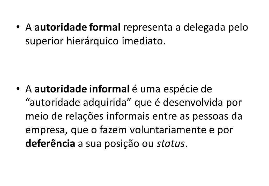 A autoridade formal representa a delegada pelo superior hierárquico imediato.