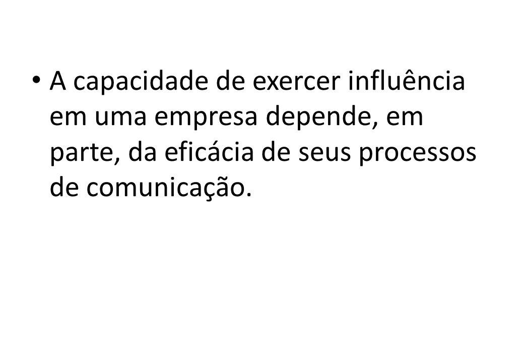 A capacidade de exercer influência em uma empresa depende, em parte, da eficácia de seus processos de comunicação.