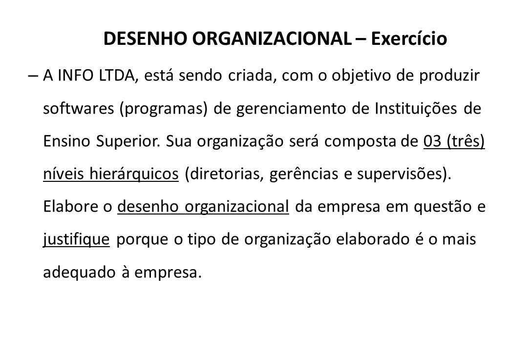 DESENHO ORGANIZACIONAL – Exercício