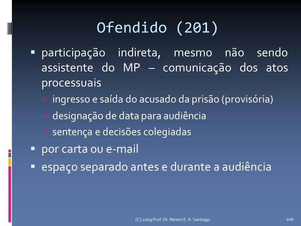 Ofendido (201) participação indireta, mesmo não sendo assistente do MP – comunicação dos atos processuais.