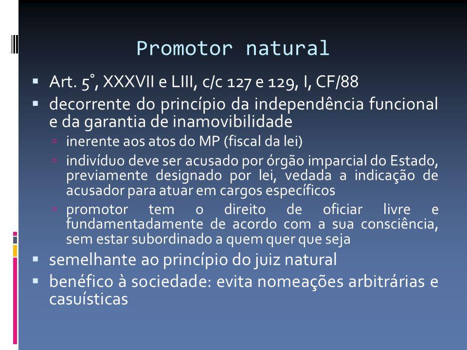 Promotor natural Art. 5°, XXXVII e LIII, c/c 127 e 129, I, CF/88
