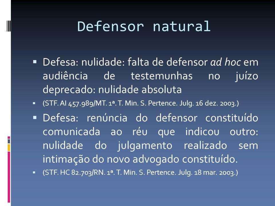 Defensor natural Defesa: nulidade: falta de defensor ad hoc em audiência de testemunhas no juízo deprecado: nulidade absoluta.