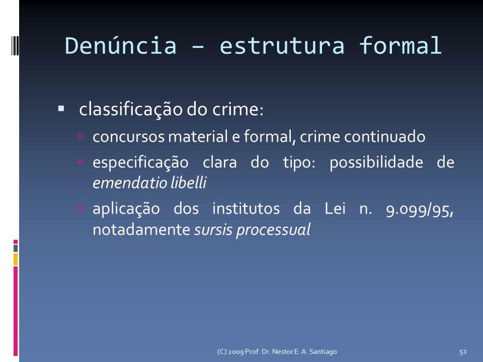 Denúncia – estrutura formal