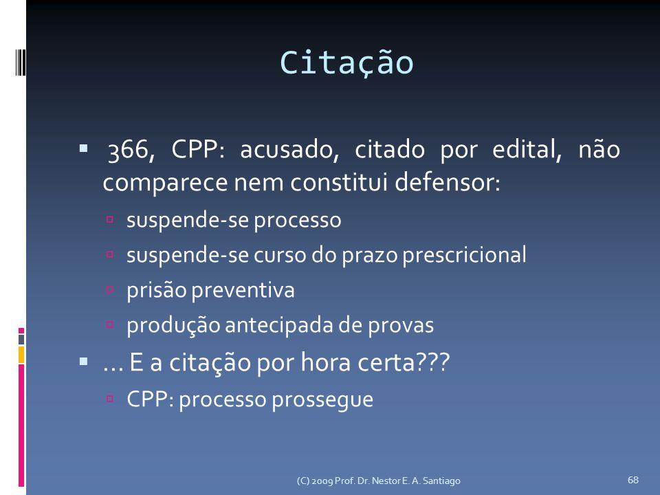 Citação 366, CPP: acusado, citado por edital, não comparece nem constitui defensor: suspende-se processo.