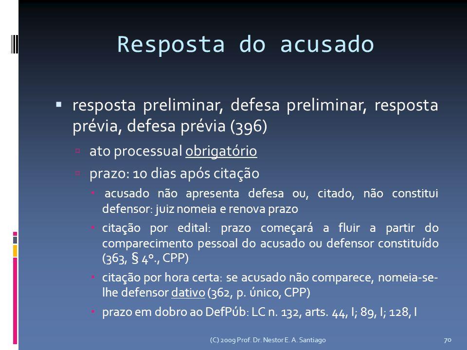 Resposta do acusado resposta preliminar, defesa preliminar, resposta prévia, defesa prévia (396) ato processual obrigatório.