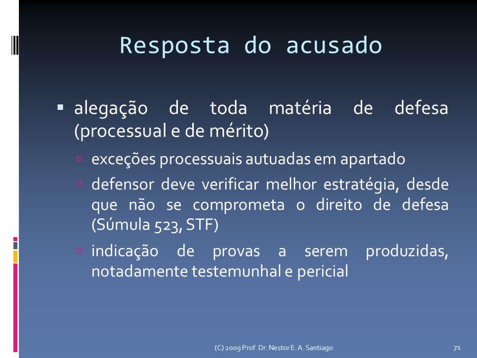 Resposta do acusado alegação de toda matéria de defesa (processual e de mérito) exceções processuais autuadas em apartado.