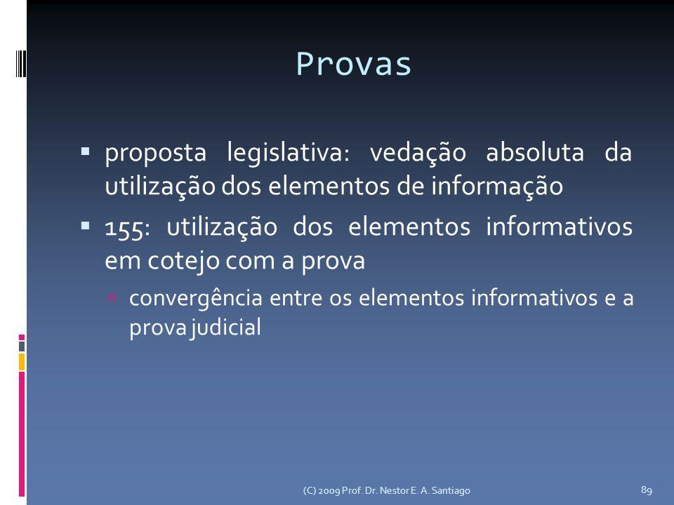 Provas proposta legislativa: vedação absoluta da utilização dos elementos de informação.