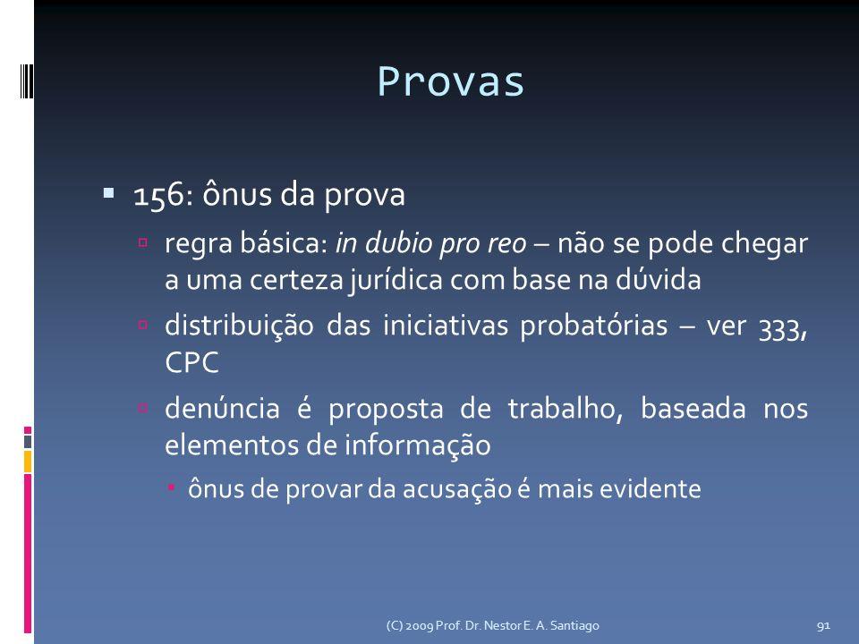 Provas 156: ônus da prova. regra básica: in dubio pro reo – não se pode chegar a uma certeza jurídica com base na dúvida.