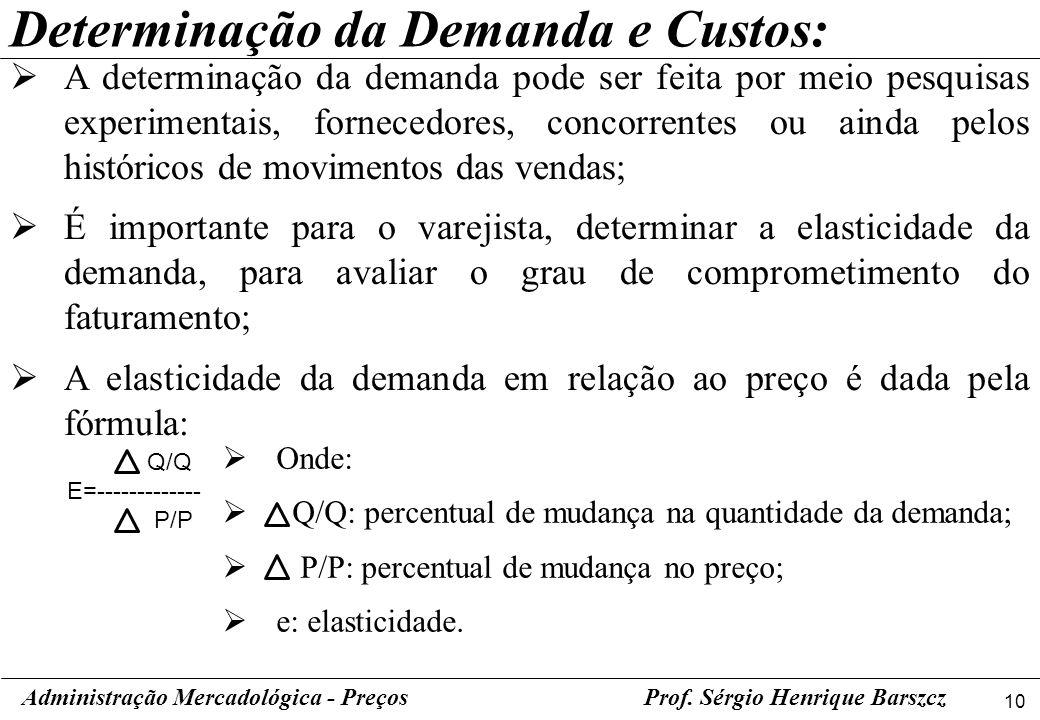 Determinação da Demanda e Custos: